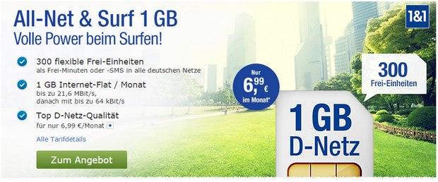 GMX Handytarif All-Net & Surf 1GB